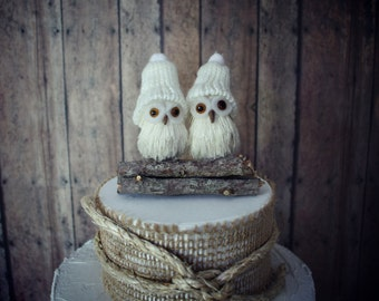 owls-wedding cake topper-winter wedding-fall wedding-rustic-barn owls-snow owls-rustic wedding-barn wedding-winter owls wedding cake topper
