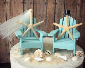 Ivory bride-Adirondack chair-wedding cake topper-miniature-beach chair-beach wedding-destination wedding-starfish