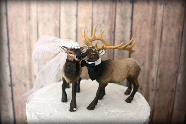 Elk Elk hunter wedding cake topper hunting