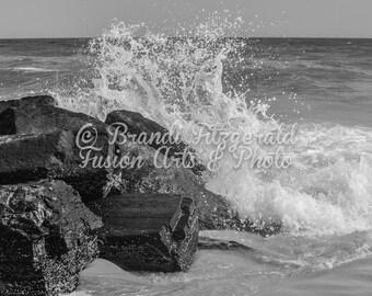 Waves Rocks Photograph Black and White Crashing Waves Beach Photography