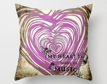Music Purple Heart Throw Pillow Music Note Home Decor