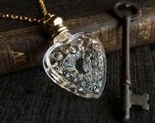 Perfume Bottle Necklace - Victorian Potion Amulet - Choose your scent - Heart 4ml