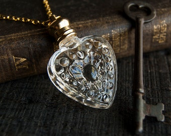 Perfume Bottle Necklace - Victorian Potion Amulet - Choose your scent - Heart 4ml