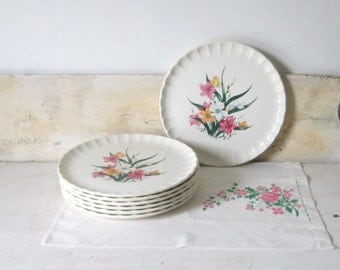 On Sale Vintage Plates Lily Dinner Plates Midcentury Floral Dinnerware WS George casual Summer Decor Serving Gift for Her