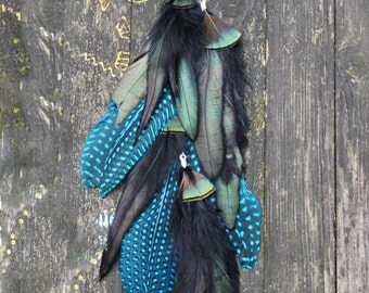 Feather Hair Extension - Black and Blue Tail