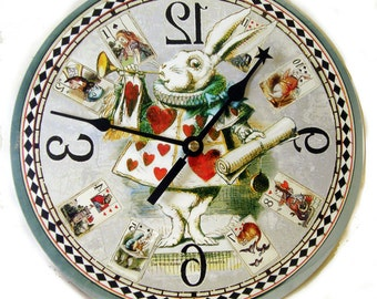 White Rabbit clock Alice in Wonderland Home Decor Card Clock