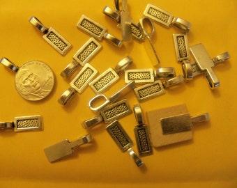 BIG SALE 100 Silver Plated Pendant Bails Glue on Bails Scrabble Tile Domino Bails 27mm US Seller
