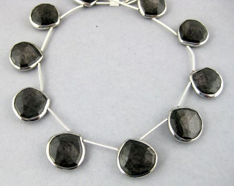 Hypersthene Faceted Bead-- Hypersthene Drop Bead with Sterling Silver Bezel-- BY BEAD (LX-09)
