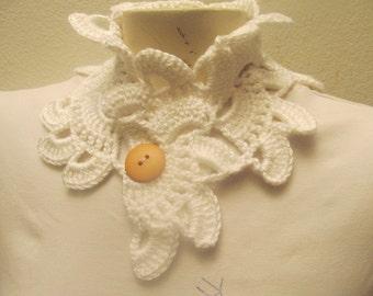 Crocheted White Flower Button Collar Neck Warmer In White
