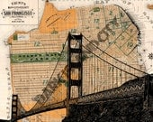 "Golden Gate Bridge Bay Area Street Map Page Background 8x10"" print"