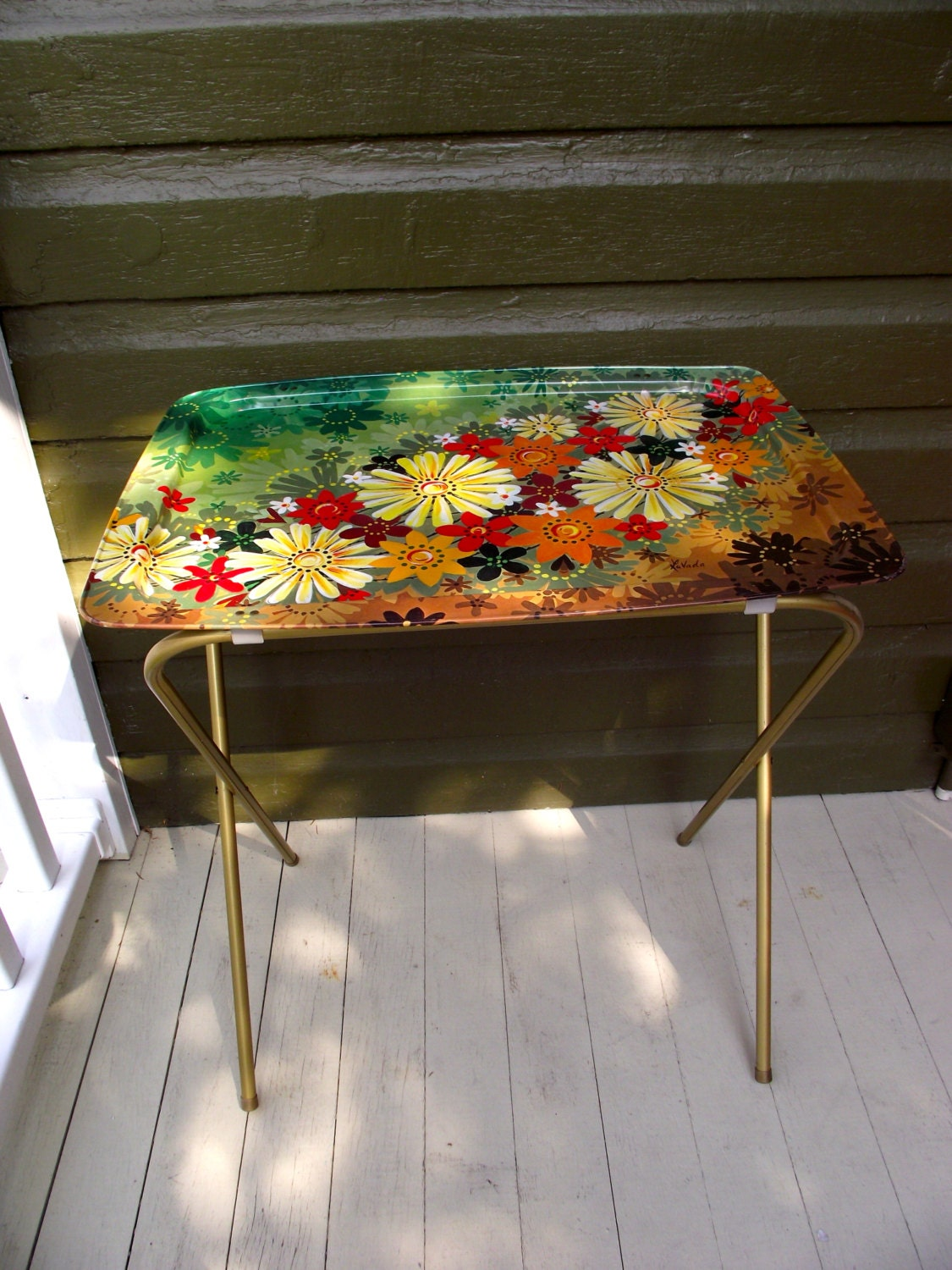 Vintage Tv Trays Metal Folding Stand Table Set Of Two