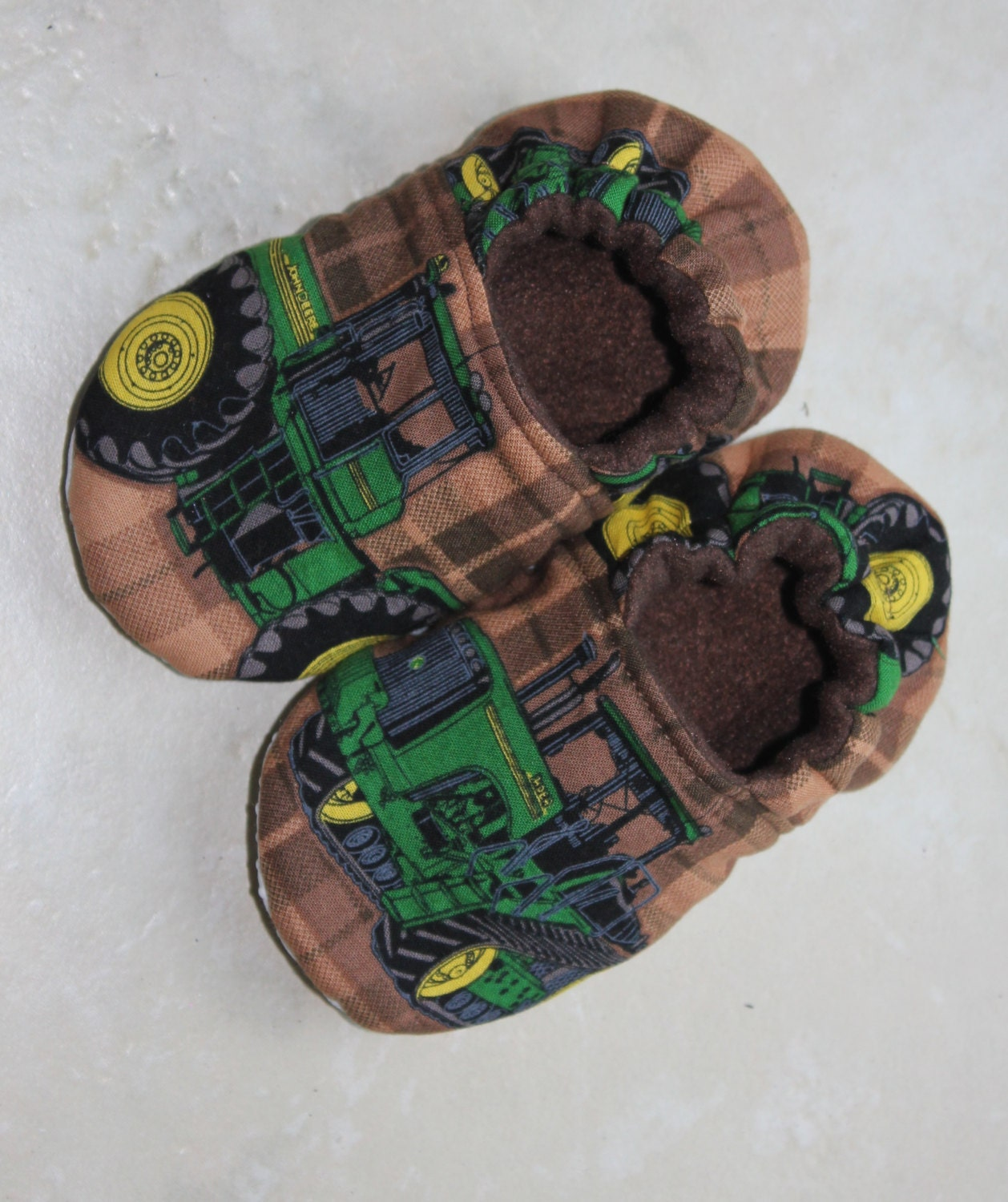 Children S Slippers Made With John Deere Tractor Fabric