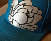 Turquoise Lotus trucker hat