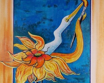 Crane Painting Sunflower Painting Bird Painting Beach painting Original Painting Acrylic Painting Fantasy Painting