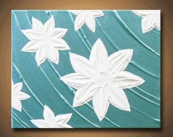 Painting Turquoise Aqua Blue Flower White Water Lotus Lily 11x14 High Quality Original Sculpture Impasto Modern Fine Art