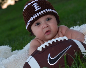 Baby Hat, Baby Football Hat, Newborn Hat, Baby Boy Hat Crochet Hat, Photo Prop, Brown Hat