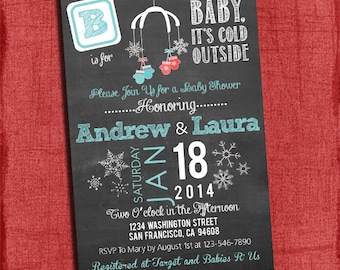 Printable Baby It's Cold Outside Couples Baby Shower Chalkboard Style 4x6 or 5x7 Invitation-DIy