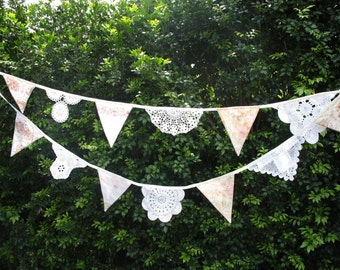 Vintage Bunting Wedding Doily Lace & Fabric - High Tea Garden Party Flags. HANDMADE . Birthday Parties , Weddings , Kitchen Tea Celebrations