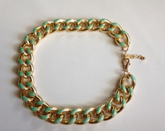 GOLD and MINT GREEN Chunky Chain Metal Necklace