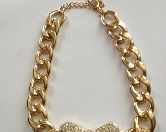 Extra Large Chunky Chain Gold Bow Pave Crystal Necklace