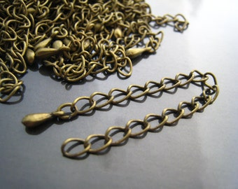 Finding - 6 pcs Antique Brass Adjustable Chain Closure  Extender