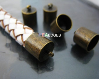 4pcs Antique Brass End Caps 9mm - Antique Brass Findings Very Large Leather Cord Ends Cap with Loop 12.5mm x 10mm