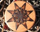 "Cactus Blossom Pyrography Woodburning on 1.5"" Diameter Round Box"