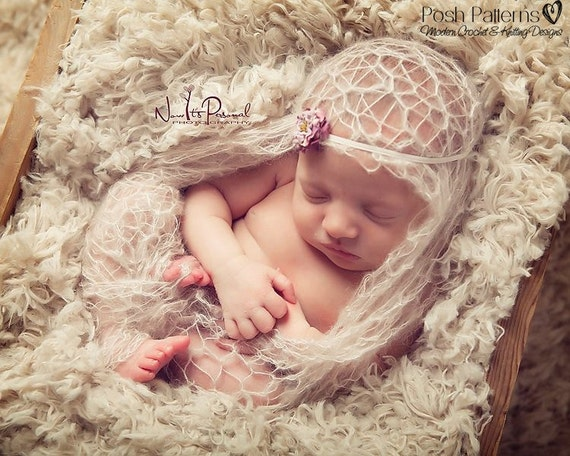 Knitting PATTERN - Knit Lacy Baby Wrap Blanket & Flower Headband - Knitting Patterns - Knitting Pattern Baby - Photo Prop Pattern - PDF 241