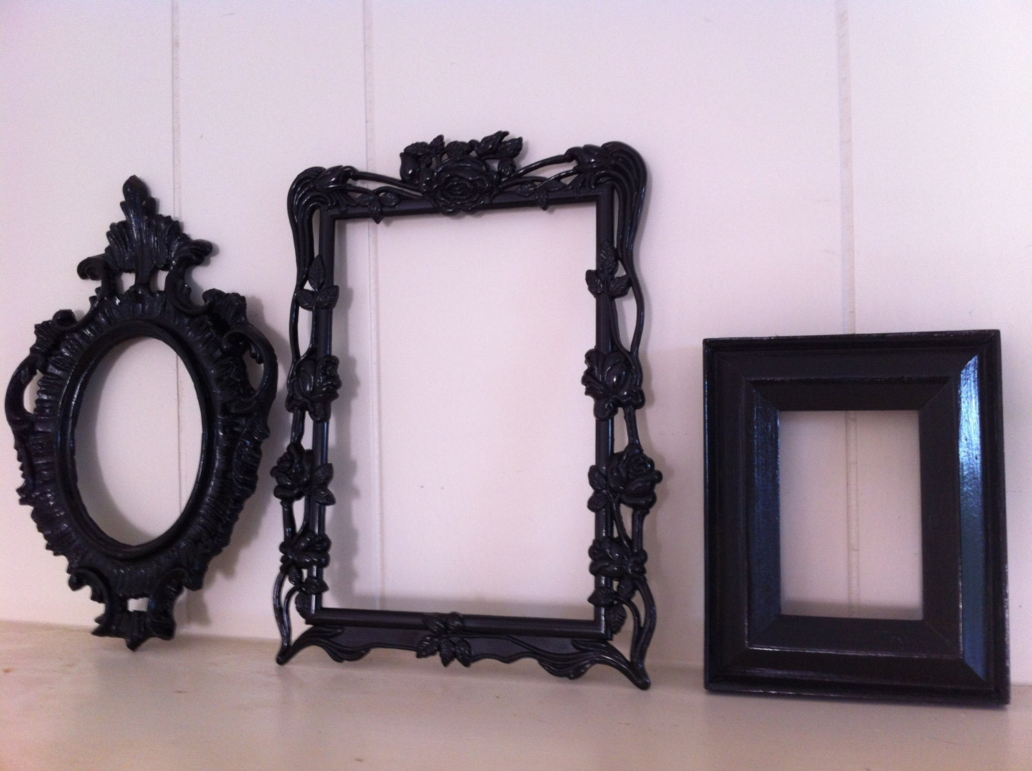 Black frame collage eclectic home decor empty frame gallery - Eclectic picture frame wall ...