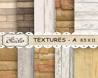 Digital paper, Wood Scrapbooking Paper, Wood Textures Collage, Stones, Tags Backgrounds, Instant Download, printable paper Digital collage