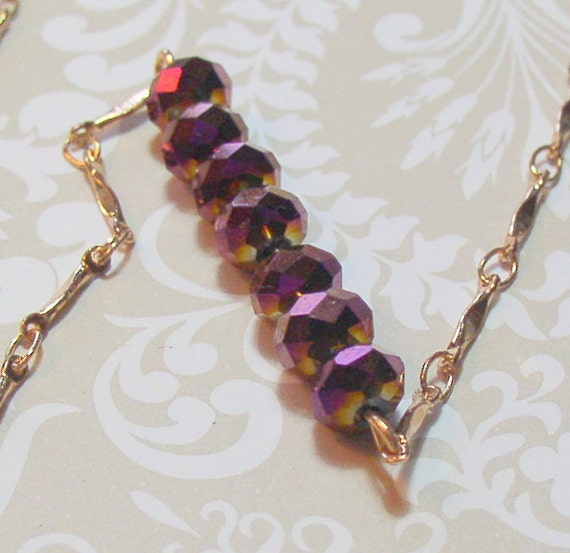 Facets of Purple Necklace and Rose Gold chain necklace