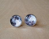 20% OFF -- Full Moon Black and White Stud Earring,Planet,Elegant gift for her