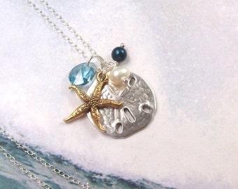 Gold Starfish Necklace, Silver Sand Dollar Necklace, Tropical Necklace, sterling silver, aqua, swarovski, blue, fashion, women