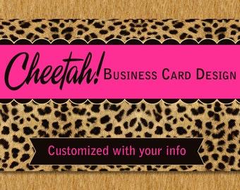 Business Card Design Cheetah and Hot Pink Fuchsia Bold Premade Design