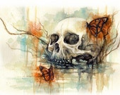 WATERCOLOR - skull and butterfly - 23x31cm - 9x12 in