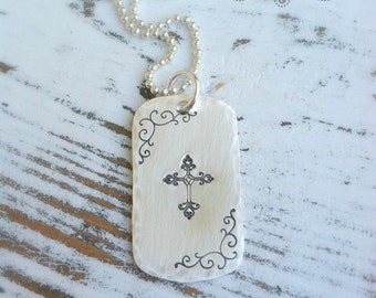 Cross Dogtag Necklace . Cross Necklace . Faith Necklace . Stamped Cross . Religious Jewelry . Stamped Jewelry . Dogtag Necklace