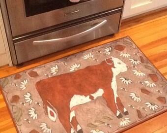 Cow rug 2 x 3 padded floorcloth