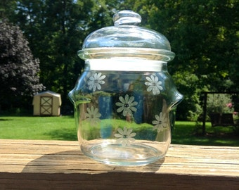 Etched Glass Jar With Lid