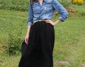 60% DISCOUNT / Black Elastic Waist Maxi Length Pleated Full Skirt / Handmade Skirt fit for M / L sized Women