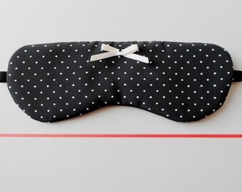 Black and White Polka Dot Handmade Sleep / Eye Mask with Tiny Satin Bow / Simple Eyewear