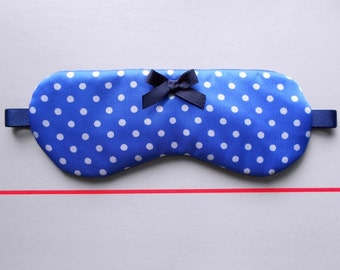 Blue and White Polka Dot Handmade Sleep / Eye Mask with Small Navy Blue Bow / Simple Eyewear