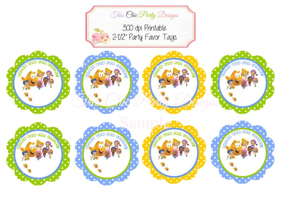 Bubble Guppies tags, DIY PRINTABLE