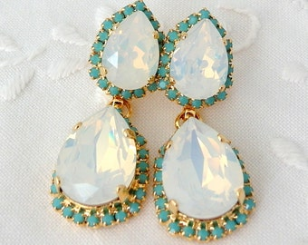 White opal and turquoise Chandelier earrings, Bridal earrings, Estate style Dangle earrings, Drop earrings, Rhinestone  earrings, statement
