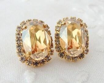 Champagne Swarovski Crystal oval stud earring, 14k gold plated stud earrings, Bridesmaid gifts, Bridal earrings, Swarovski rhinestones stud