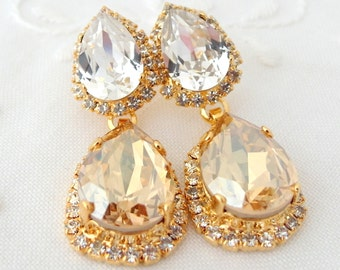 Champagne clear Chandelier earrings, champagne bridal earrings,champagne bridesmaids gift, Dangle earrings, Drop earrings,swarovski earrings