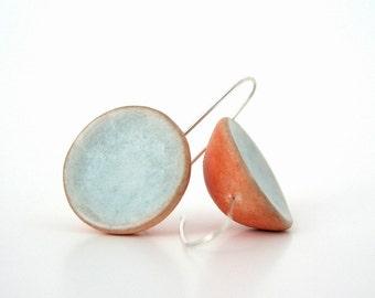 Orange tangerine ice blue clay minimal dome earrings rustic color block, spring pastel, air dry clay earrings, organic form, sterling silver