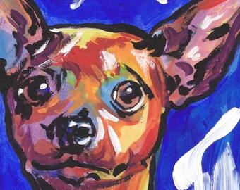 "red Miniature Pinscher art print pop dog art print bright colors 8.5x11"" LEA min pin"