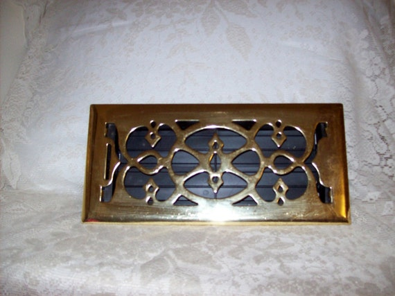 Vintage Brass Front Floor Register Vent Cover Victorian Look