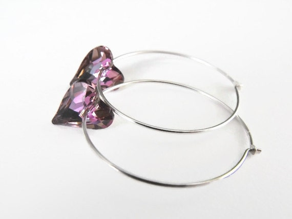 Virtal Light Swarovski Crystal Sterling Silver Hoop Earrings