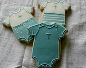 """Baptism Baby Romper cookies - 4"""" Hand Decorated Sugar cookie- Party Favors- (#2361)"""